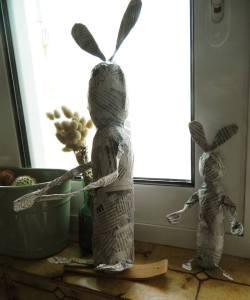 Papier mâché bunnies